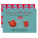 Retro 1950s Bridal Shower Tea Party Rockabilly Invitation