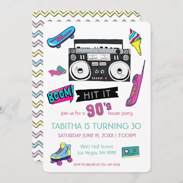 retro 90 s birthday party invitation zazzle com