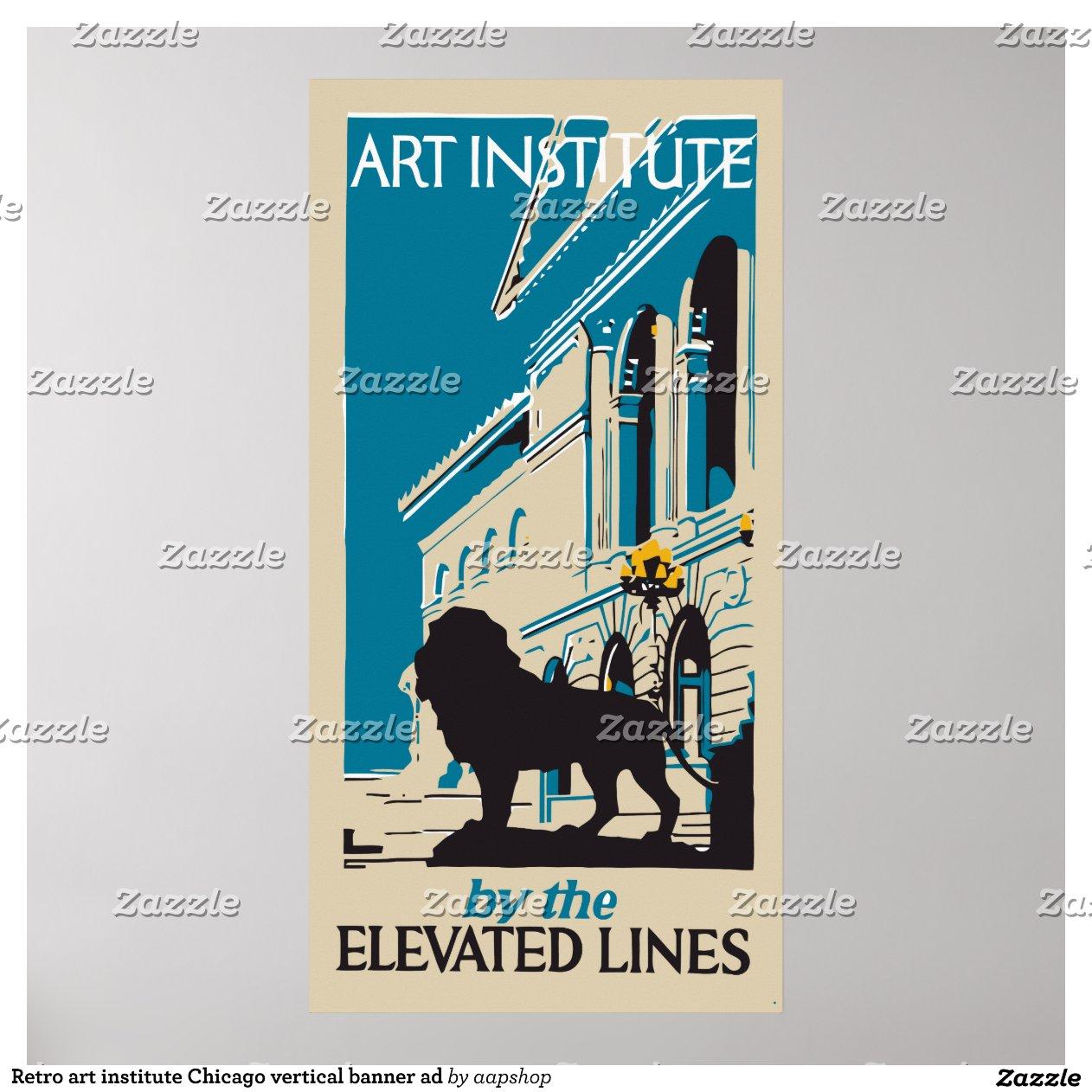 Retro Art Institute Chicago Vertical Banner Ad Poster