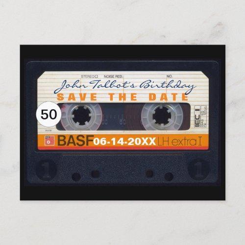 Retro Audiotape 50th birthday Save the date PostC Announcement Postcard