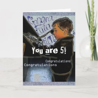 Retro Boy Calling Birthday Congratulations card