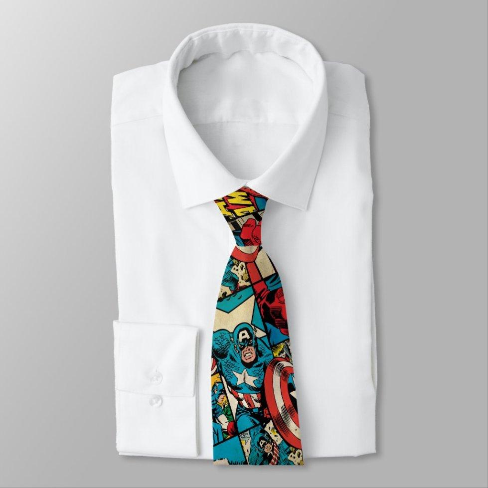 Retro Captain America Comic Book Pattern Neck Tie