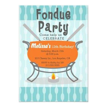 Retro Fondue Party Birthday Invitation
