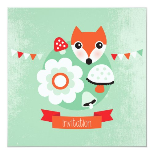 Retro fox kids birthday invitation
