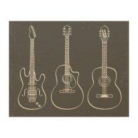 Retro guitar trio music grunge wood wall art | Zazzle