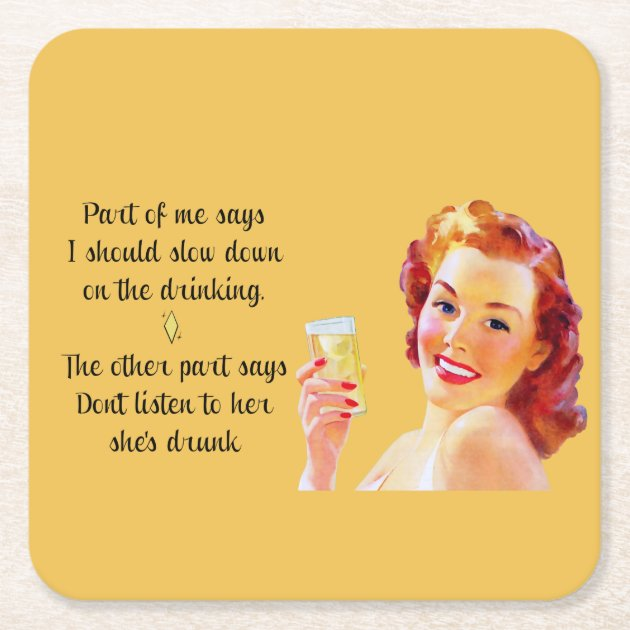 Retro Housewife Funny Quote Drinking Coaster Zazzle