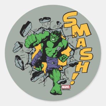 Retro Hulk Smash! Classic Round Sticker