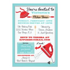 Kitchen Bridal Shower Wall Decor Ideas Retro Invitations Zazzle Com