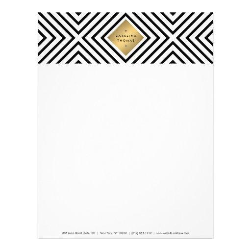 Retro Mod Bold Black and White Pattern Gold Emblem