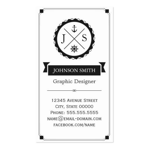Retro Nautical Anchor Monogrammed Business Card Templates