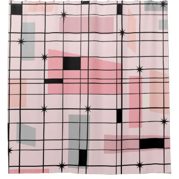 Retro Pink Grid and Starbursts Shower Curtain