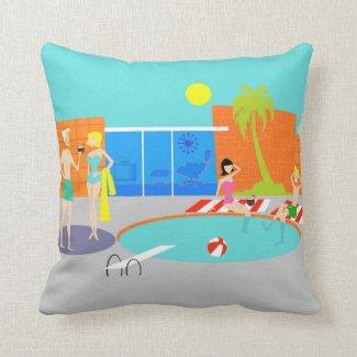 Retro Pool Party Throw Pillow
