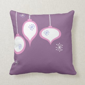 Retro Purple 70's Christmas Throw Pillow
