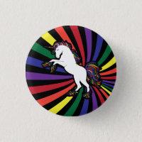 Retro Rainbow Unicorn Button
