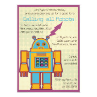 Retro Robot -kids birthday invitation