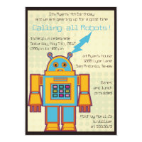 Retro Robot-kids birthday invitation -6