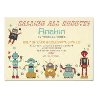 Retro Robot Party Birthday Invitation
