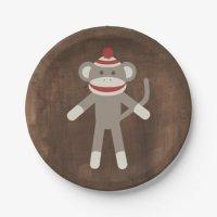 Retro Sock Monkey Paper Plate | Zazzle