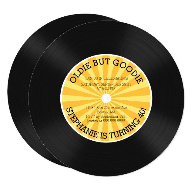 Retro Vinyl Record Birthday Party Invitation  Zazzle