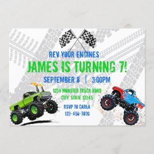 monster truck birthday invitations zazzle