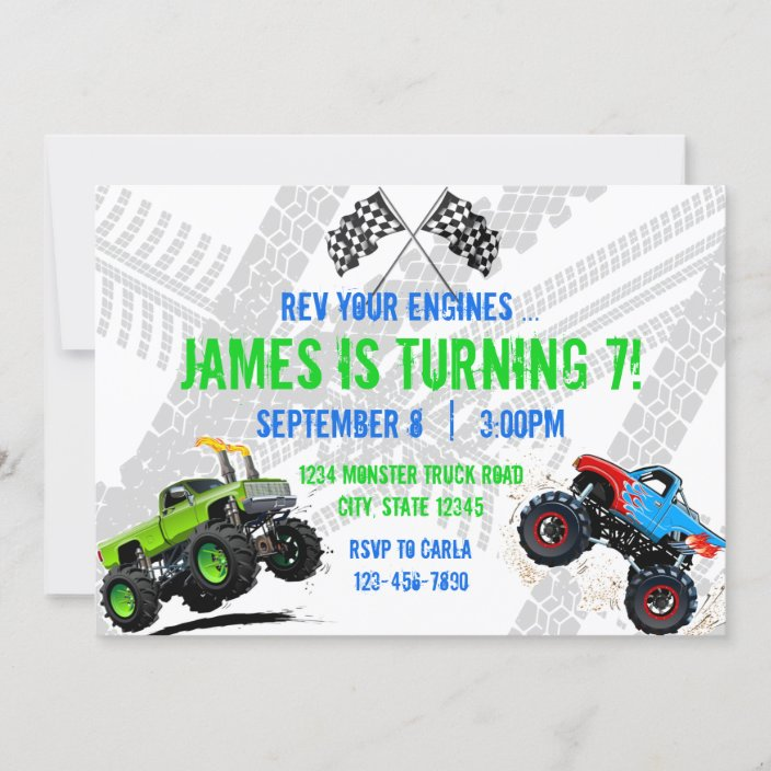 rev your engines monster truck birthday invitation zazzle com