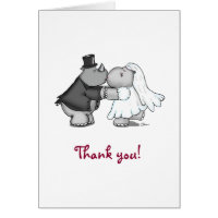 Rhino and Hippo Thank you Greeting Card