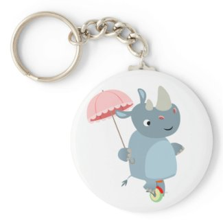 Rhino with Umbrella on Unicycle Keychain keychain