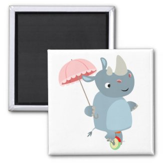 Rhino with Umbrella on Unicycle Magnet magnet