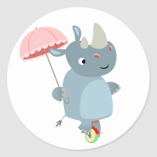 Rhino with Umbrella on Unicycle Sticker sticker