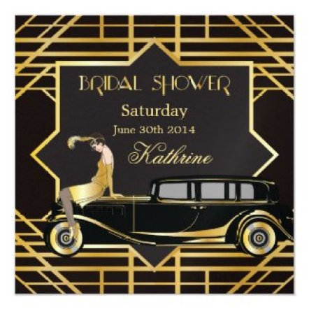 Roaring Twenties Gatsby Style Bridal Shower 5.25x5.25 Square Paper Invitation Card