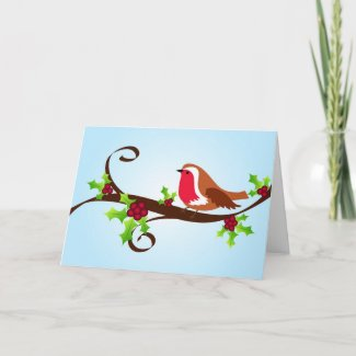Robin and holly - Card card