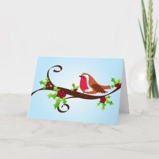 Robin and holly - Card card
