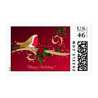 Robin and holly - Postage stamp