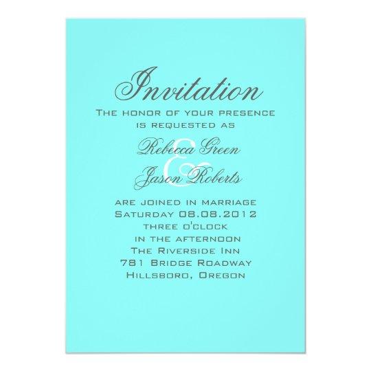 Wedding Invitation Design Aqua Blue