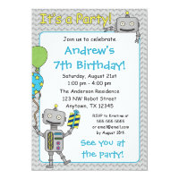 Robot Birthday Party Invitations