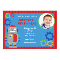 Robot Photo Birthday Party Invitations