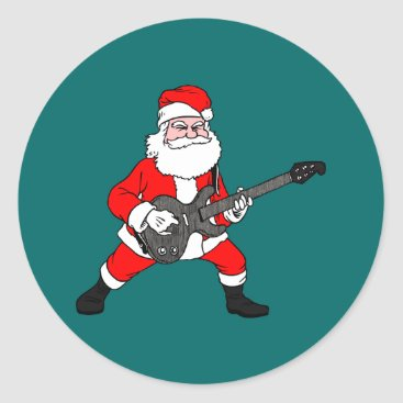 Rock N Roll Santa Claus Classic Round Sticker