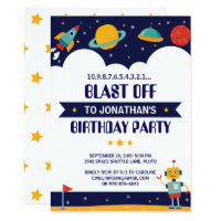 Rocket Outer Space Ship Birthday Party Invitation