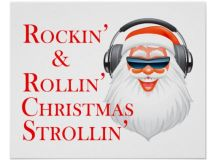 Rockin' Cool Santa Claus With Headphones Posters | Zazzle