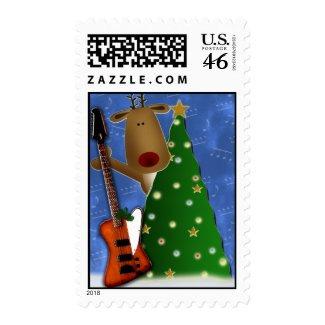 Rockin Red Nose Reindeer postage stamp