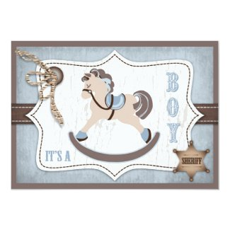 Rocking Horse Cowboy Baby Shower Blue 5x7 Paper Invitation Card