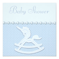Rocking Horse Unicorn & Flowers Baby Boy Shower Card