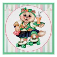 ROLLER CAT CUTE CARTOON Perfect Poster