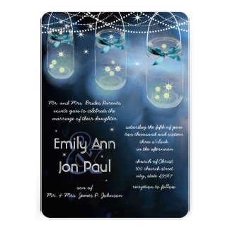 Romantic Firefly Mason Jar Wedding Cards