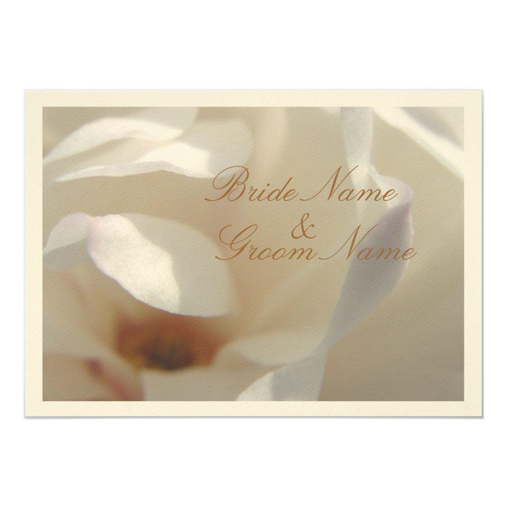 Romantic Ivory Magnolia Wedding Invitation