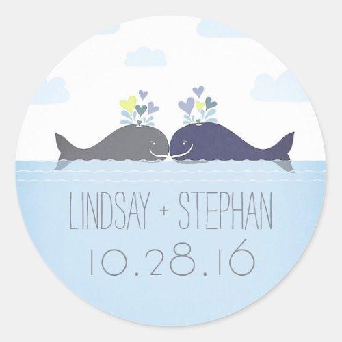 Romantic Ocean Whale Couple Wedding Classic Round Sticker
