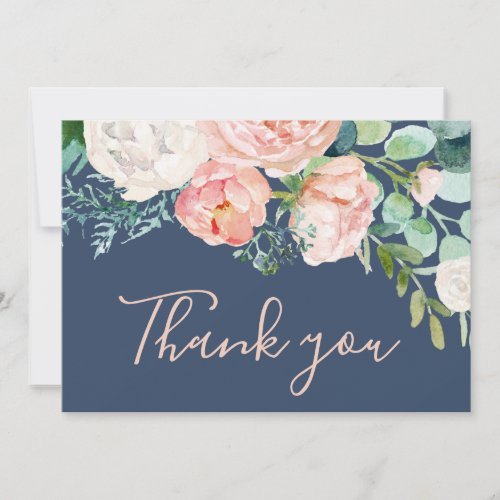 Romantic Peony Flowers | Blue Thank You Card