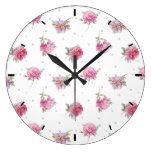 Romantic Pink Floral Dot Watercolor Pattern Large Clock