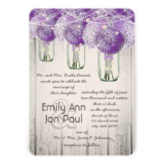 Romantic Radiant Orchid Mason Jar Firefly Wedding Custom Announcement