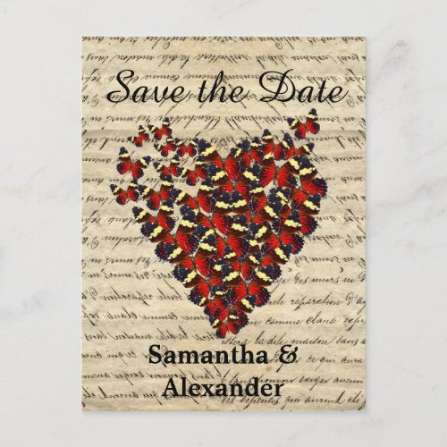 Romantic red butterfly heart save the date announcement postcard